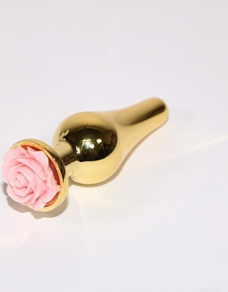 Touch of Fur Baby Pink Bowling Pin Shaped Gold Stainless Steel Rose Plug