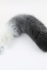 "Touch of Fur 14-17"" White Fox Gradient White to Black with Stainless Steel Plug - Small"