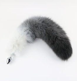 """Touch of Fur 14-17"""" White Fox Gradient White to Black with Stainless Steel Plug - Small"""