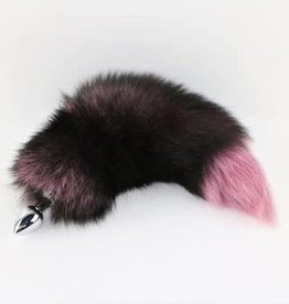 """Touch of Fur 14-17"""" Silver Fox Tail Dyed Pink on Stainless Steel Plug - Medium"""