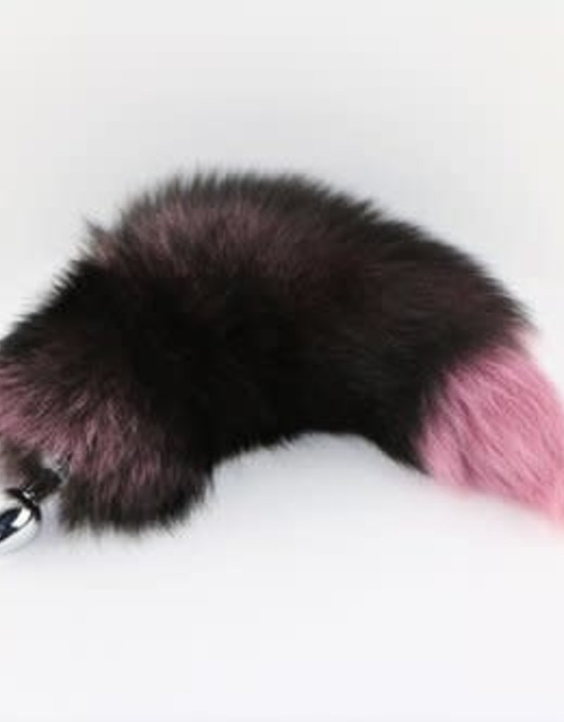 "Touch of Fur 14-17"" Silver Fox Tail Dyed Pink on Stainless Steel Plug - Medium"
