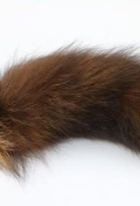 """Touch of Fur 14""""-17"""" Silver Fox Tail Dyed Mocha on Stainless Steel - Small"""