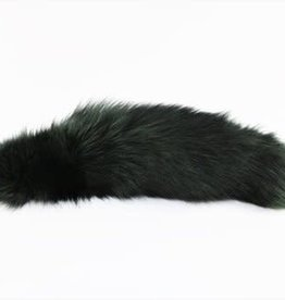 """Touch of Fur 14"""" - 17"""" Indigo Fox Tail Dyed Dark Green on Stainless Steel Plug - Small"""
