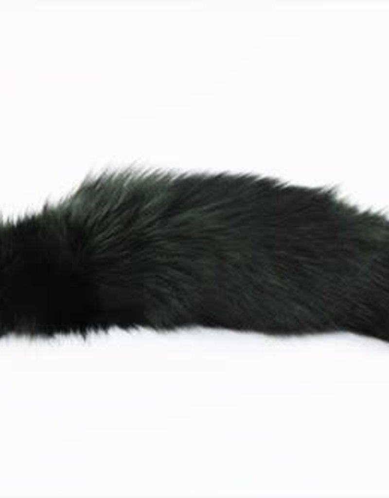 "Touch of Fur 14"" - 17"" Indigo Fox Tail Dyed Dark Green on Stainless Steel Plug - Small"