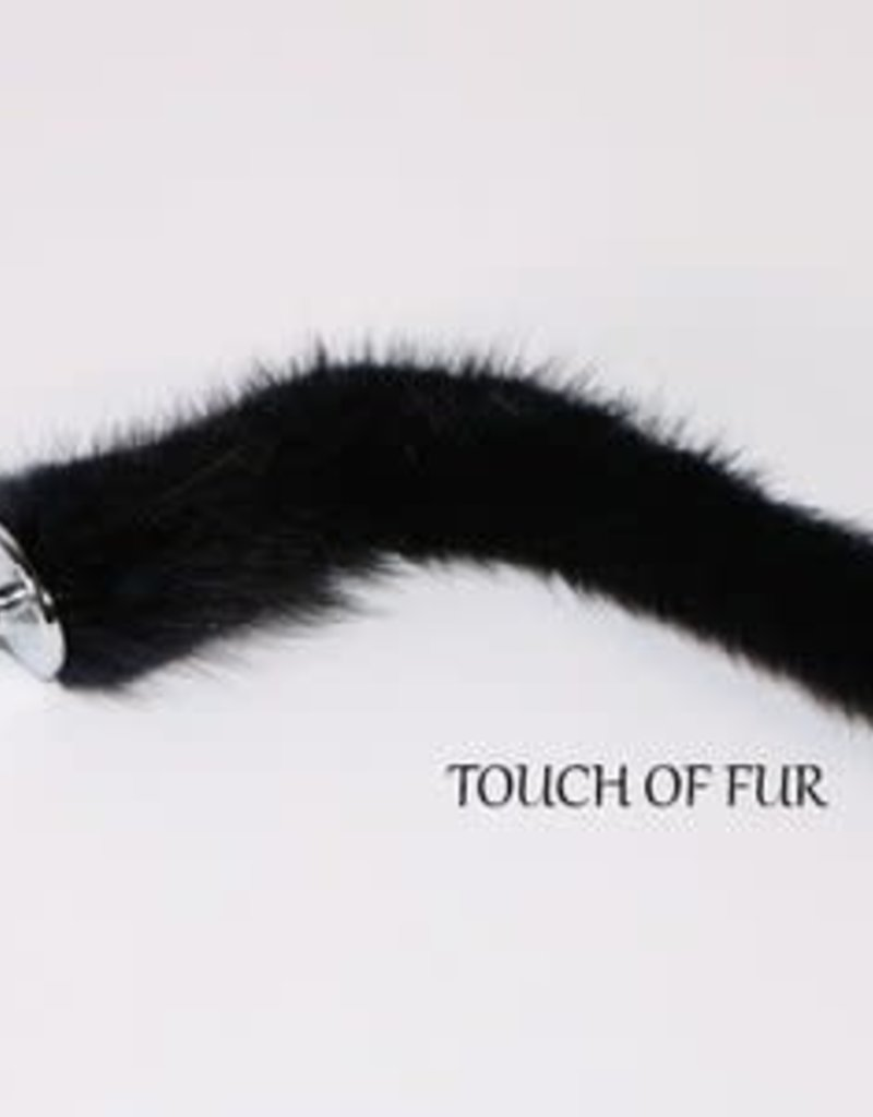 """Touch of Fur 9""""-12"""" BLACK MINK TAIL  DETACHABLE PLUG - Small"""