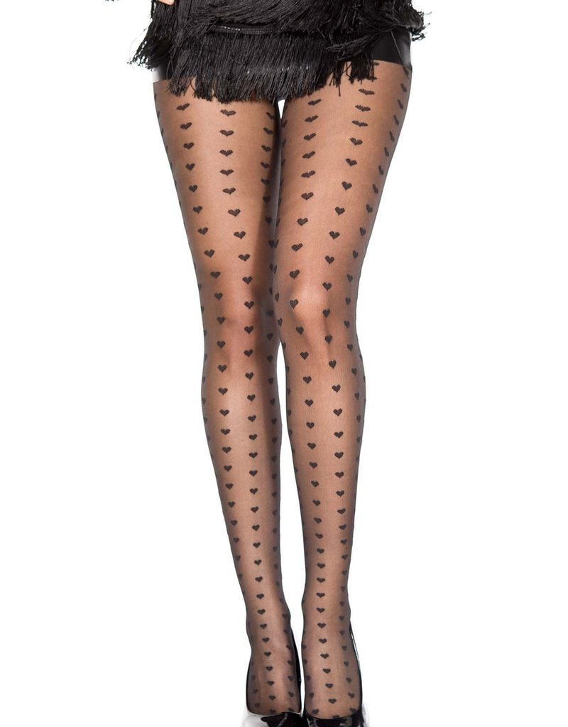 Music Legs Heart columns sheer spandex pantyhose - OS
