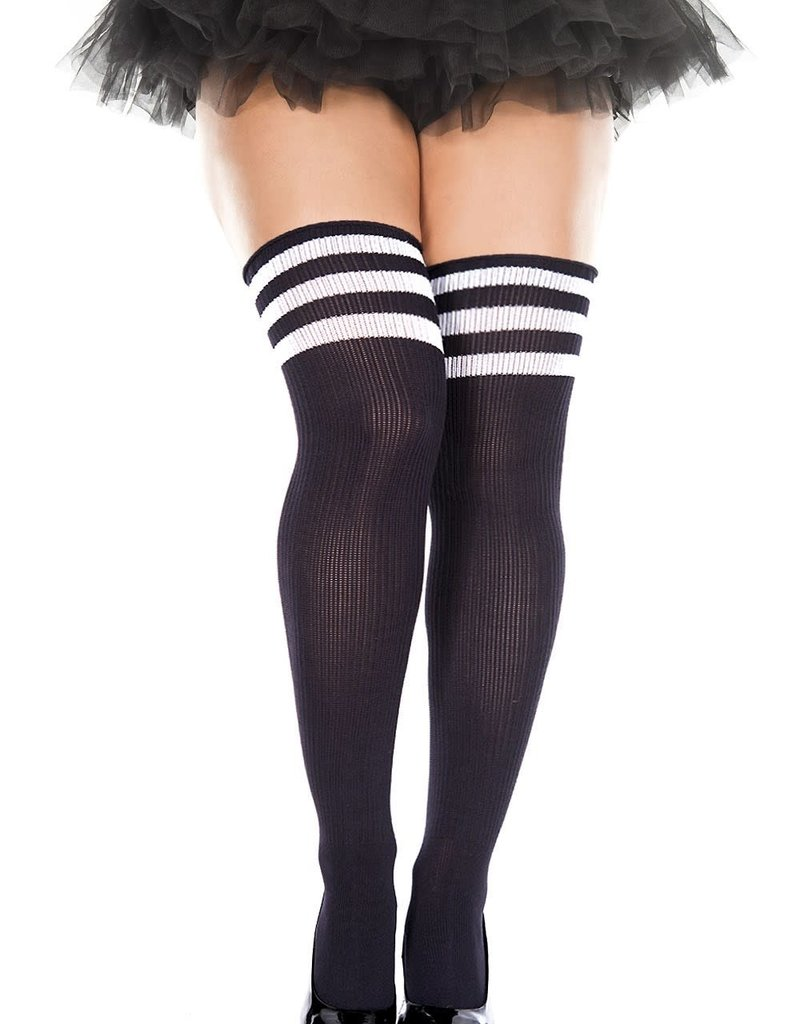 Music Legs Athletic Striped Thigh Highs - Queen Size - Black/Wht