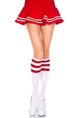 Music Legs Knee Highs with Striped Top - Wht/Red - OS