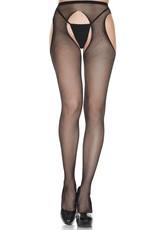 Music Legs Fishnet suspender seamless pantyhose - Black - OS