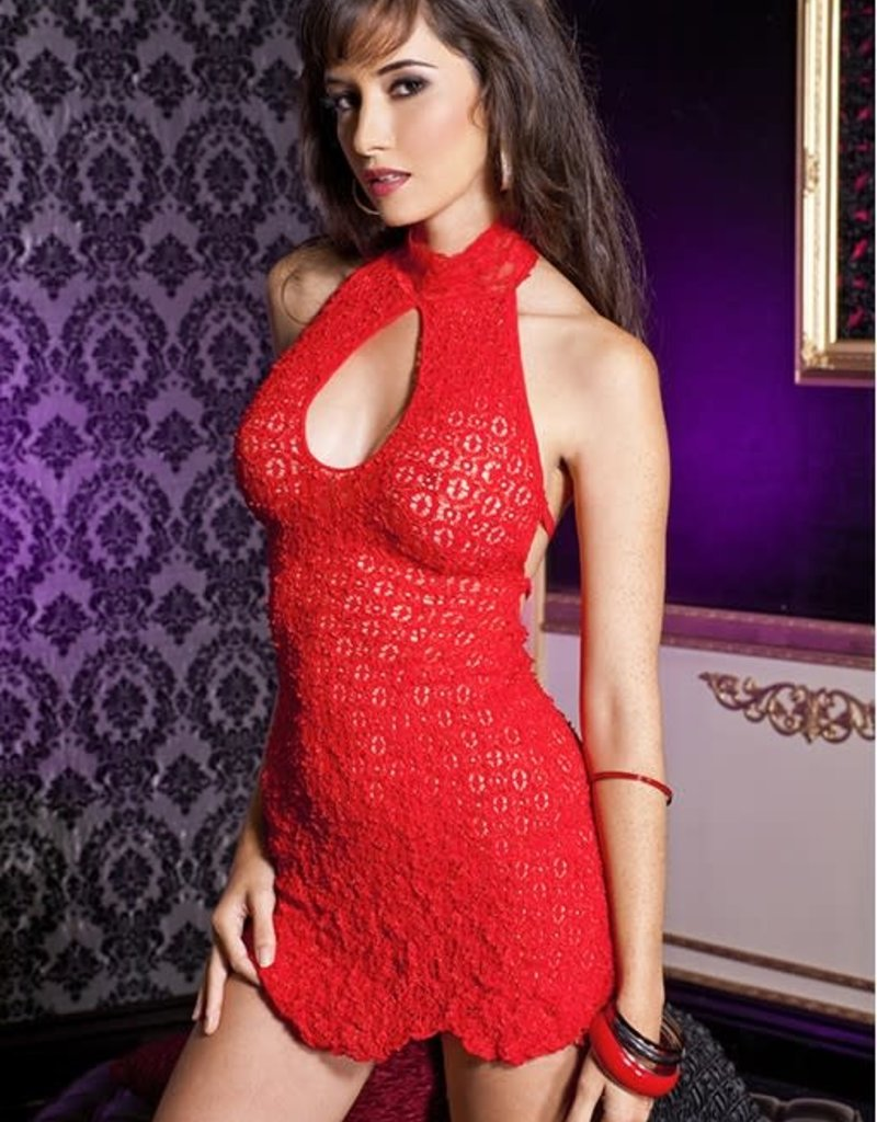 Music Legs Keyhole front halter mini dress with strappy back and g-string - OS