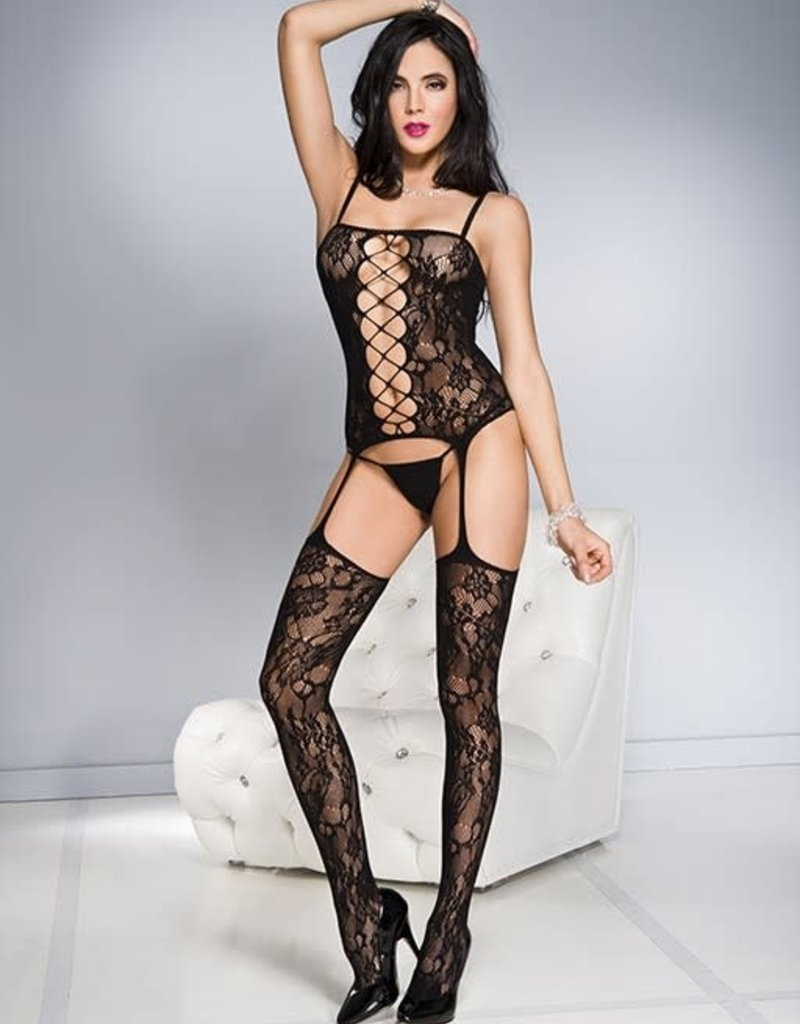 Music Legs Floral front cut out camisole with strings garter spandex bodystocking - OS