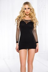 Music Legs Mini diamond net long sleeve mini dress - OS