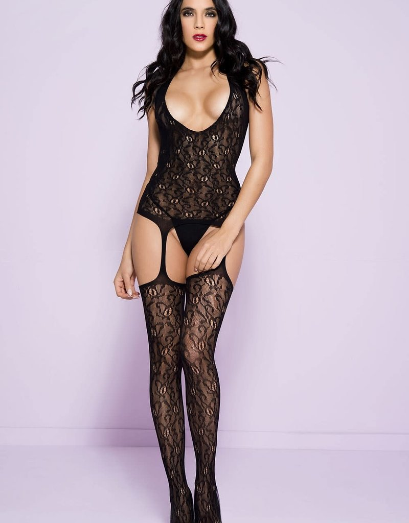 Music Legs Lace Suspender Bodystocking - OS