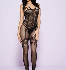Music Legs Floral bodice bodystocking with faux garter and stockings - OS