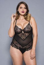 Music Legs Plus size flower lace and back mesh teddy with underwire cups