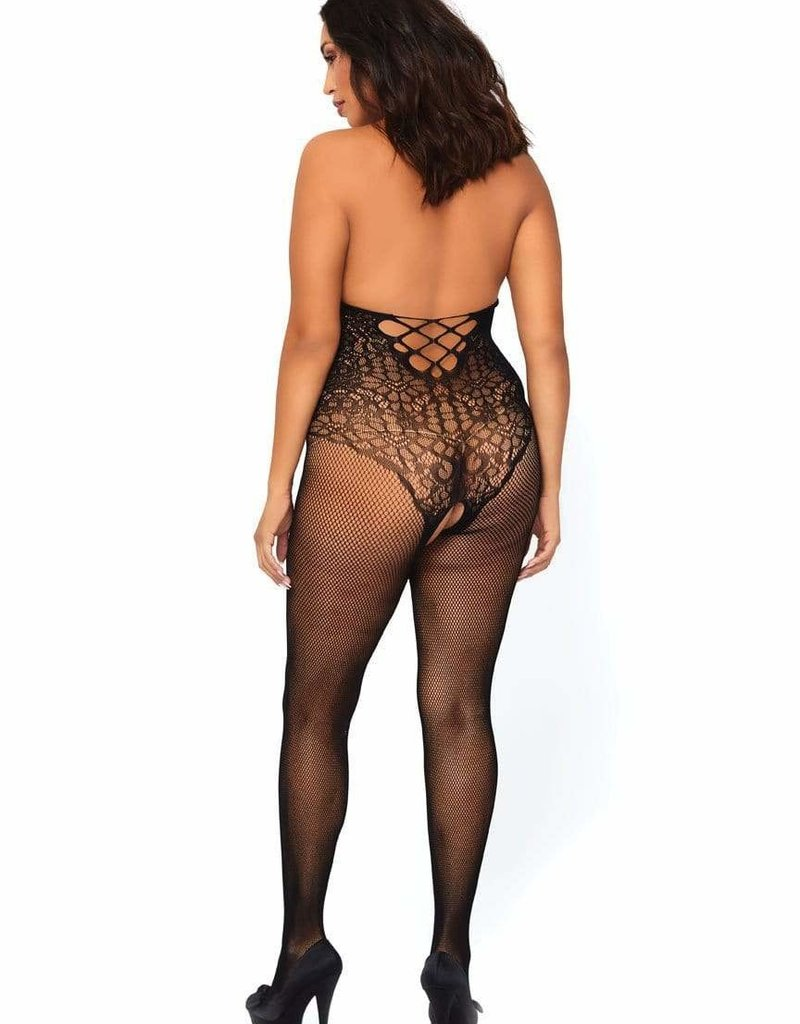 Leg Avenue Lace & Fishnet Bodystocking - Queen Size