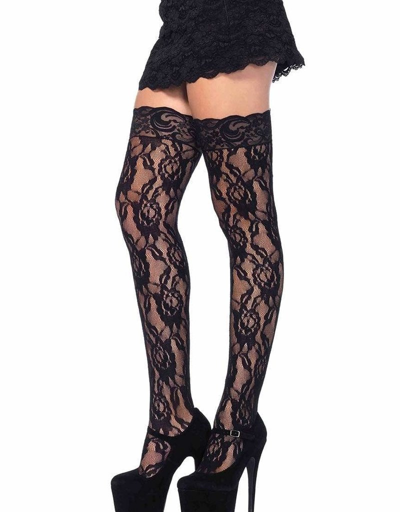 Leg Avenue Lace Thi Hi W/Lace Top O/S BLACK