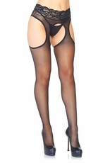 Leg Avenue Lycra Sheer Garter Panty Hose O/S BLACK