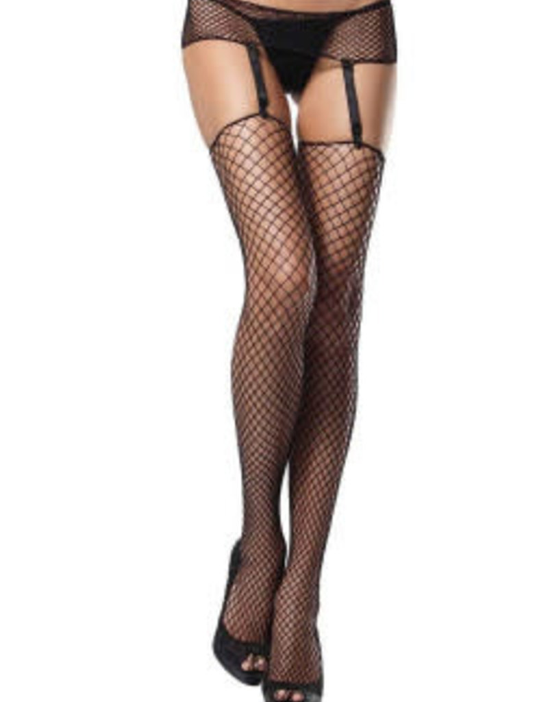 Leg Avenue 2 pc. Industrial net garterbelt and stockings PLUS SI BLACK
