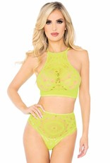 Leg Avenue 2 PC Crop Top & Panty - Neon Yellow