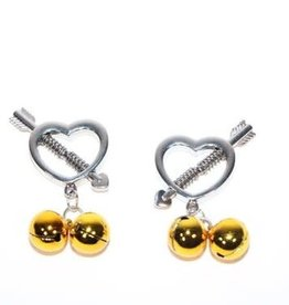 Touch of Fur Heart Shaped Nipple Clamp Gold Bell