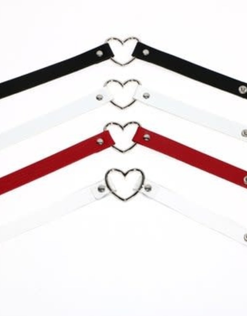 Touch of Fur Adjustable Soft Leather Heart Collar - red