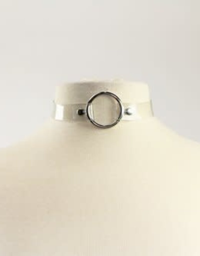 Touch of Fur Adjustable Clear PVC Collar with Metal O-Ring