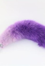 "Touch of Fur 14-17"" White Fox Dyed Lavender to Purple on Stainless Steel - Small"