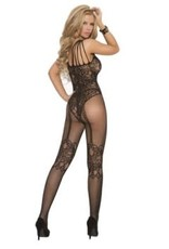 Elegant Moments Fishnet Body Stocking - One Size - Black