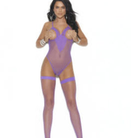 Elegant Moments Fence Net Teddy and Matching Stockings - One Size - Purple