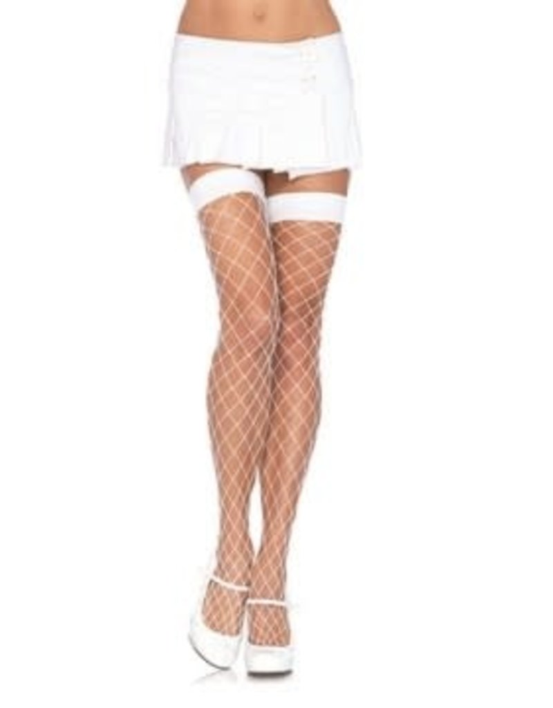 Leg Avenue Fence Net Thigh High O/S WHITE