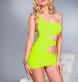 Music Legs Rock'n One Shoulder Mini Dress - Neon Green - OS
