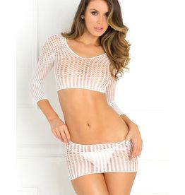 Rene Rofe Rene Rofe Crochet-Net Bodystocking White O/S