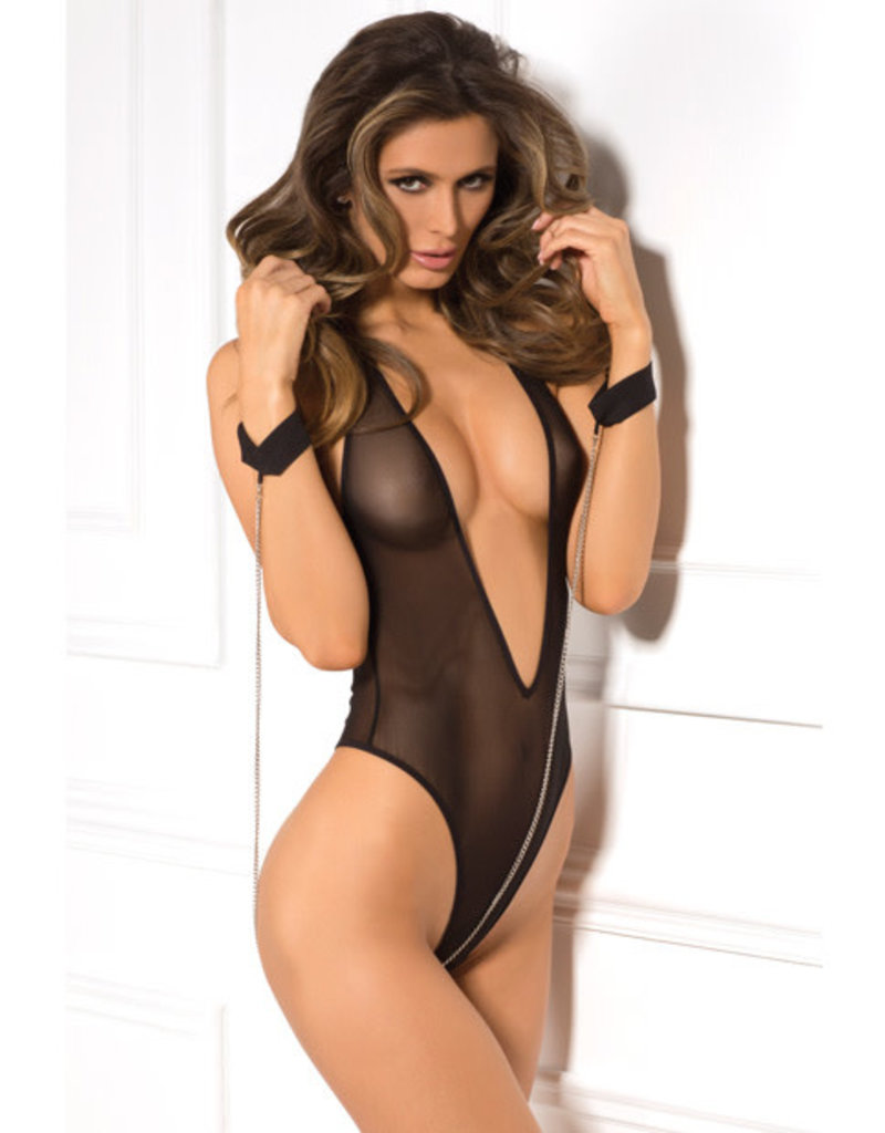 Rene Rofe 2pc Mesh Teddy & Cuff Set - One Size - Black