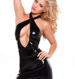 Allure Lingerie Kitten Wetlook Criss Cross Dress - One Size - Black