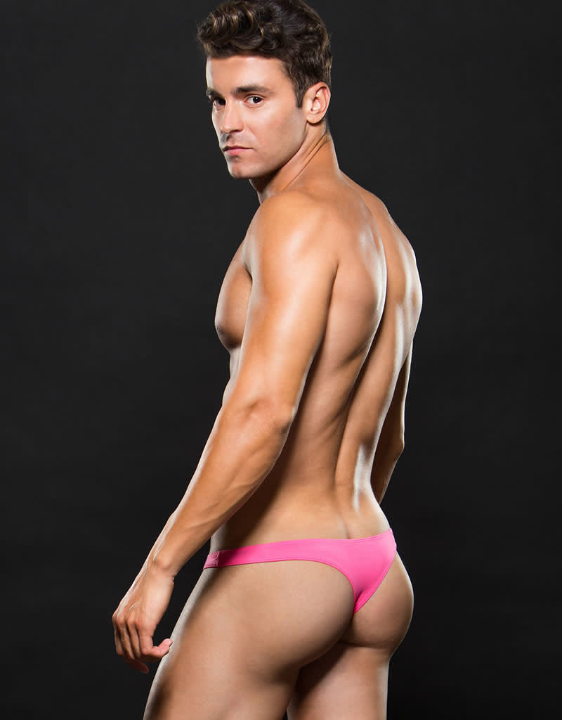 Envy Microfiber Low-Rise Lace Up Thong - Pink