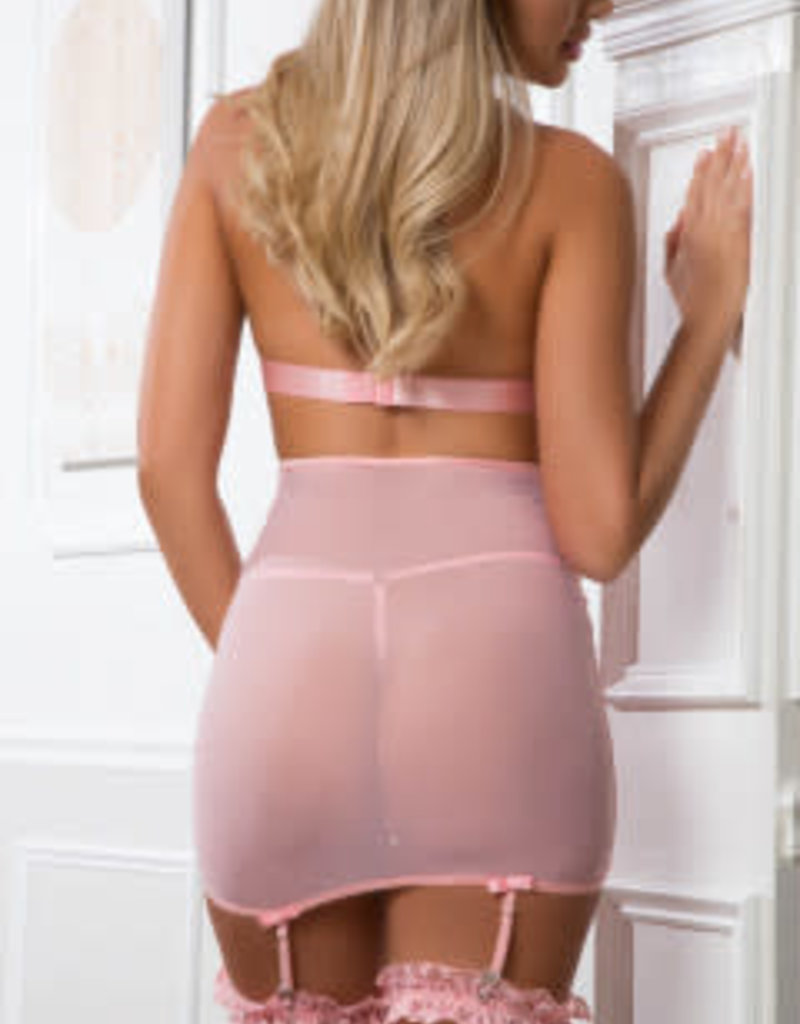 G World 3pc Lace Up Empire Waist Garter Dress - One Size - Sweet Pink