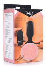 XR Brands Pink Bunny Tail Vibrating Anal Plug