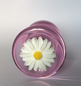 Everest Trading PINK COLOR GLASS PLUG WITH WHITE FLOWER