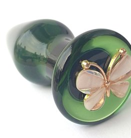 Everest Trading GREEN COLOR GLASS PLUG WITH BUTTERFLY