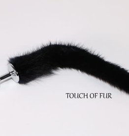"""Touch of Fur 9""""-12"""" Black Mink Tail on Detachable MEDIUM Stainless Steel Plug"""