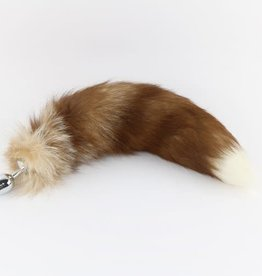 """Touch of Fur 14-17"""" Bleached Silver Fox Tail Butt Plug on Stainless Steel SMALL Plug"""