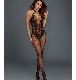 Dreamgirl Fishnet Bodystocking w/Knitted Teddy Design Black O/S