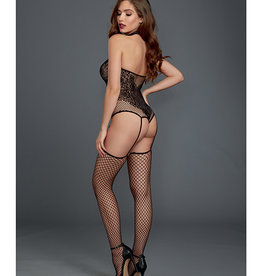 Dreamgirl Fishnet & Lace Halter Neckline Teddy w/Attached Garters & Thigh High Black O/S