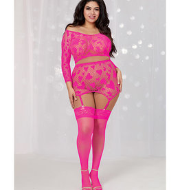 Dreamgirl Valentines Seamless Heart Fishnet Long Sleeve Crop Top & Garter Skirt Hot Pink QN