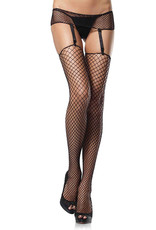 Leg Avenue 2 pc.Industrial net garterbeltand stockings O/S BLACK