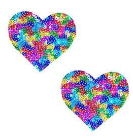Neva Nude Unipoo Sparkle Sequin Multicolor I Heart U Nipztix Pasties