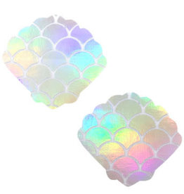 Neva Nude Mystical Mermaid White Holographic Mermaid Shell Nipztix Pasties