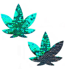 Neva Nude Ariel Green to Black Flip Sequin Gold Dope Af Weed Leak Pasties
