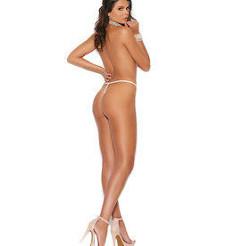 Elegant Moments Vivace Lycra G-String w/Embroidered Applique & Pearl Accents White S/M